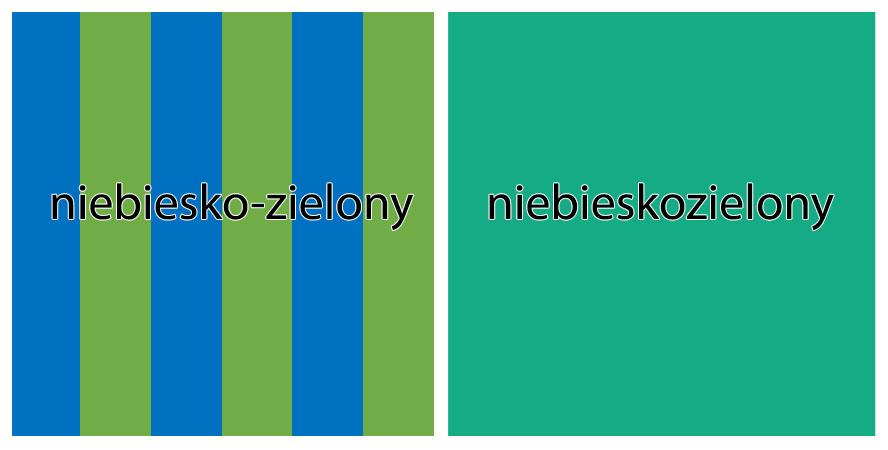 kolor niebieskozielony pisownia